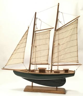 Retro Solid Wood & Canvas Tri - Masted Yacht Or Sail Boat Model - 15