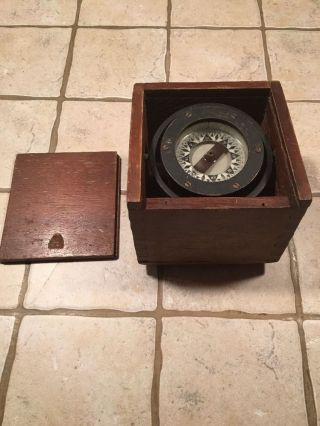 Antique Nautical Compass,  Star,  Boston 31273,  Sliding Lid,  Dovetailed Box photo