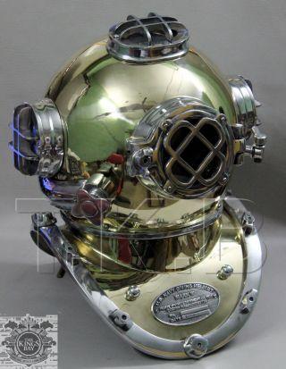 U.  S Navy Mark V Diving Divers Helmet Aluminium & Brass Made Full Size photo
