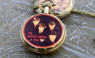 Antique Brass Beatle Finder Pocket Watch Maritime Nautical Watch Friends Gift photo