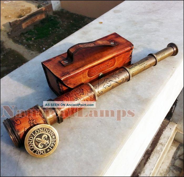 Antique Brass Leather Telescope Vintage Dollond London Pirate Spyglass Scope New