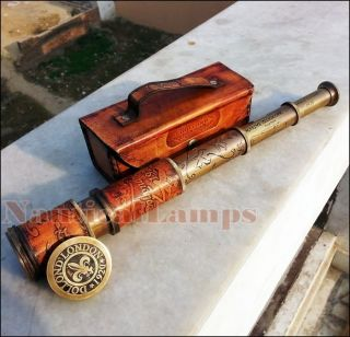 Antique Brass Telescope Marine Nautical Leather Pirate Spyglass Vintage Scope photo