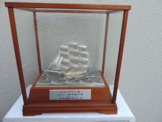 Finest Sgined Japanese Takehiko 3 Masted Sterling Silver Boat Yacht Ship Japan photo