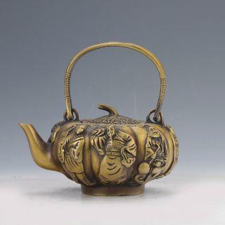 Chinese Collectable Brass Handwork Pumpkin Teapots W Daqing Mark D788 photo