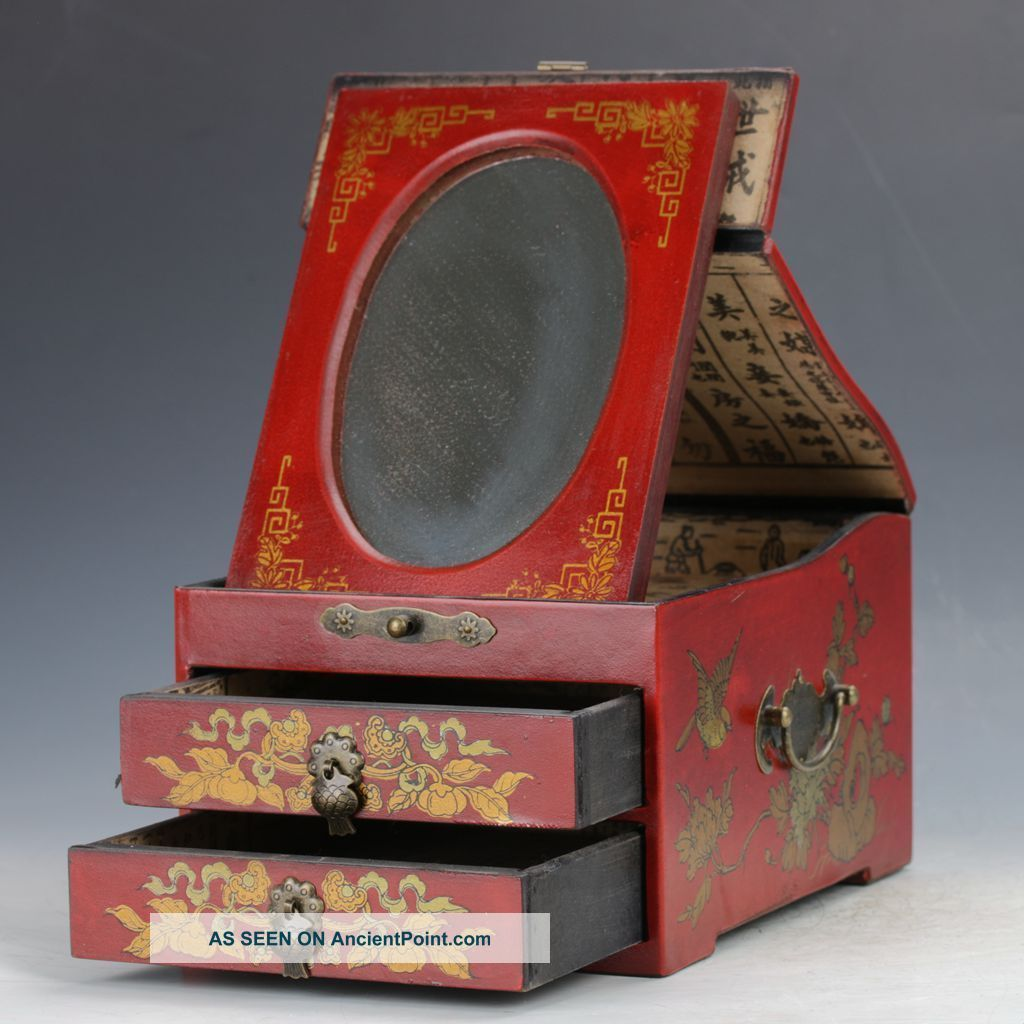 Chinese Antique Hand - Painted Dragon Motif Double - Deck Wooden Dressing Case C399 Boxes photo