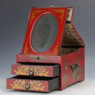 Chinese Antique Hand - Painted Dragon Motif Double - Deck Wooden Dressing Case C399 photo