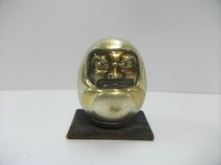 Dharma Doll Of The Silver Made In Very Rare Japan.  Daruma.  Japanese Antique. photo