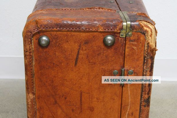 Vtg Antique Leather Suitcase Steamer Trunk Travel Wardrobe Prop Luggage Chest 1900-1950 photo