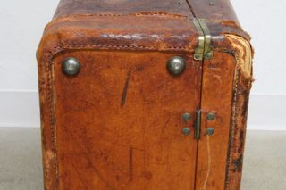 Vtg Antique Leather Suitcase Steamer Trunk Travel Wardrobe Prop Luggage Chest photo