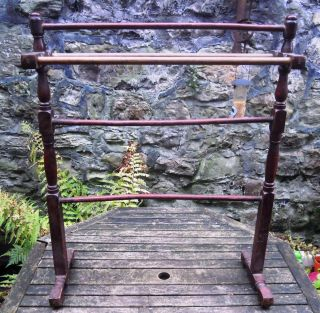 Antique Victorian Mahogany Towel Rail Clothes Airer Linen Rail photo
