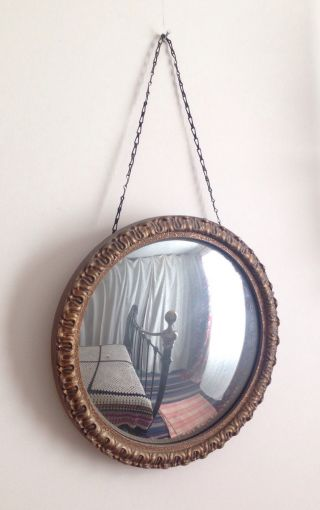 Small Round/circle Vintage Gilt Framed Convex Wall Mirror photo