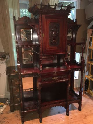 Outstanding Victorian Mahogany Etagere Bookshelf R.  J.  Horner Era photo