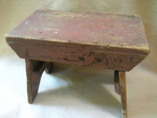 Vintage Primitive Painted Farm House Wooden Bench Milking Stool / Rustic Decor photo