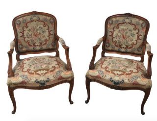 French Antique Louis Xv Style Needlepoint Arm Chairs Accent Chairs photo