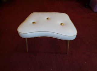 Art Deco Hollywood Regency Vanity Stool Gold Trim White Ottoman - All photo