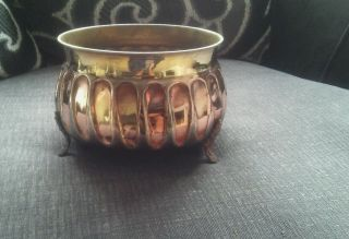 Vintage Arts And Crafts Look Brass And Copper Planter. photo