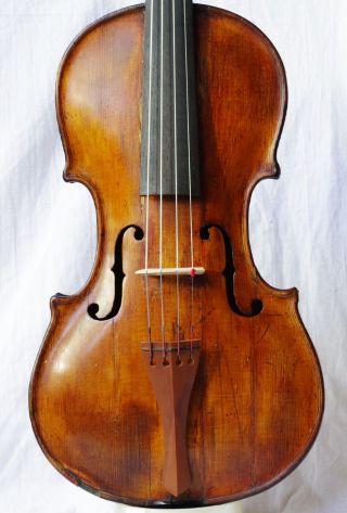 Fine Antique Italian? 18th C.  Violin Unreadable Label photo