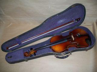 Antonius Stradivarius Violin Copy Made In Germany.  Bow Is Marked Harwood Germany photo