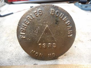 Antique 1933 Fisheries Boundary Brass Surveying Marker photo