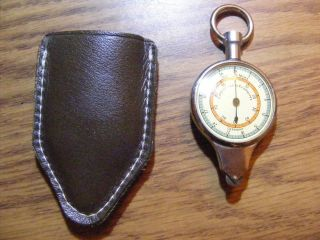 German Opisometer Map Measuring Tool And Compass Leather Case Vintage photo