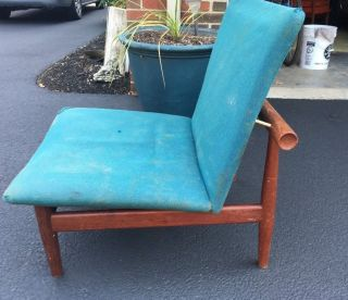Mid Century Teak France & Son Finn Juhl Style Chair Rare Find photo