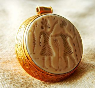 Ancient Unique Stunning Old Roman Pendant 23k Real Gold Intaglio Agate Vintage photo