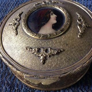 French Bronze Limoges Miniature Portrait Casket Box photo