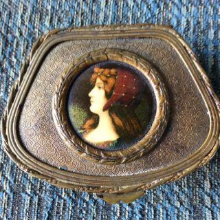 French Bronze Limoge Casket Box : Enamel Miniture Portrait photo