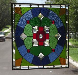 """• Ruby - Mandela • Beveled Stained Glass Window Panel • 21 ½""""x21 ½"""" photo"""