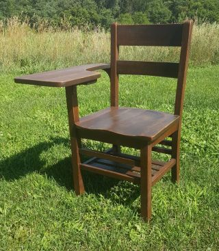 Mission Style Antique School Wooden Desk Chair photo