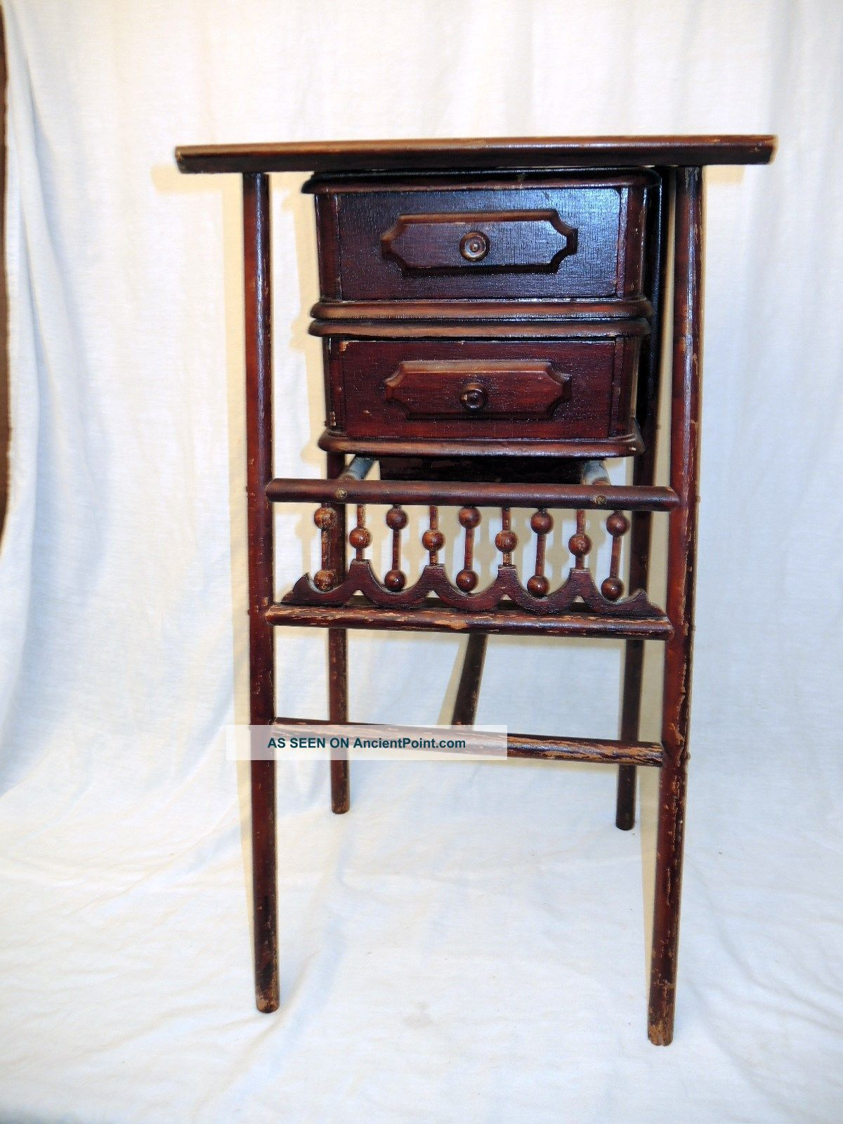 Antique Ornate Ball & Stick Two Drawer Sewing Or Phone Stand - 16 X 11 Top 1800-1899 photo