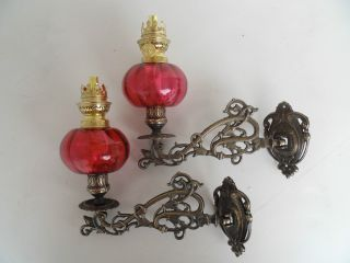 Quality Cranberry Wall Fixing Sconce Oil Lamps. photo