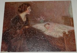 Antique Vintage Jigsaw Puzzle 30s Woman Mother Infant Baby Traver Complete W Box photo