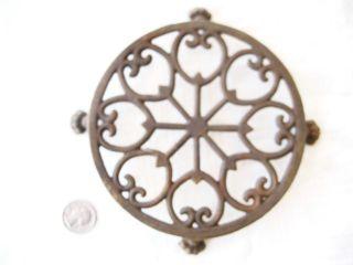 Antique Ornate Cast Iron Round Trivet W/4 Lfeet photo