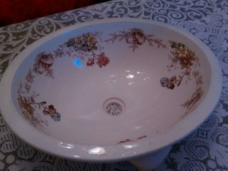 1880s Oval English Porcelain Sink,  Undermount,  Brown - Westhead,  Moore & Co. photo