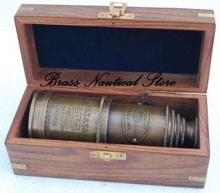 Brass Telescope Marine Nautical Antique Brass Pirate Spyglass Vintage Scope photo
