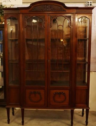 Regency Mahogany Breakfront China Cabinet Hutch Signed Gardner Circa 1830 photo