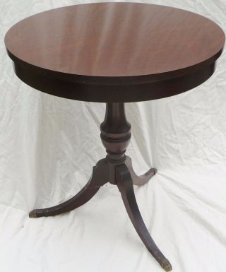 Queen Anne Drum Style Side End Table Console Brass Claw Foot Fort Worth Texas photo