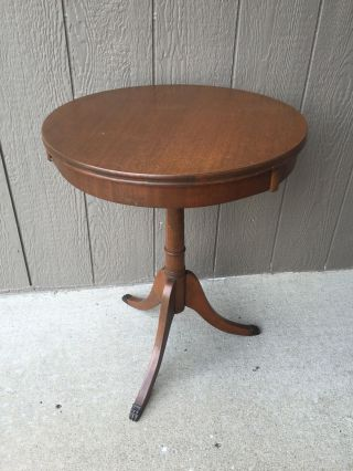 Antique Round Wood Accent Table Vintage Drum Side 3 Legs Claw Feet photo