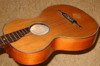 Fine Old Antique German Parlor Guitar,  Plays And Sounds Well photo