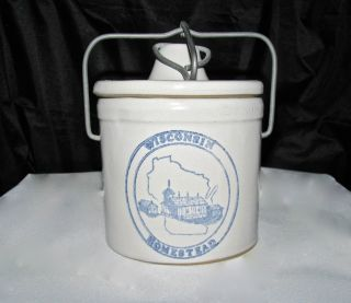 Vintage Butter Crock Wire Bale Snap Locklid Wisconsin Homestead Stoneware photo