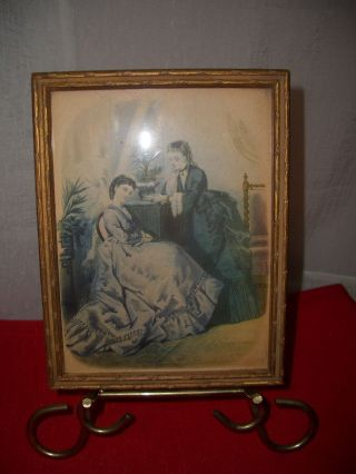 Antique Victorian Two Sided Picture/mirror Wood Frame Gold Gilt 6x8 photo