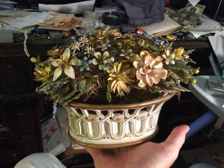 Old Porcelain Basket W Painted Goldtone Metal Flowers Detail Floral Arrangement photo