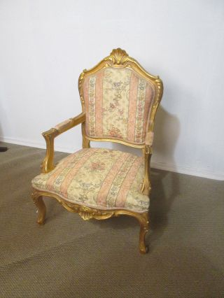 57246 Gold Decorator Bergere Armchair Chair Louis Xv photo