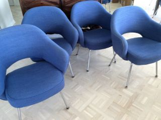 Four Mid Century Modern Knoll Eero Saarinen Executive Armchairs Fabric photo