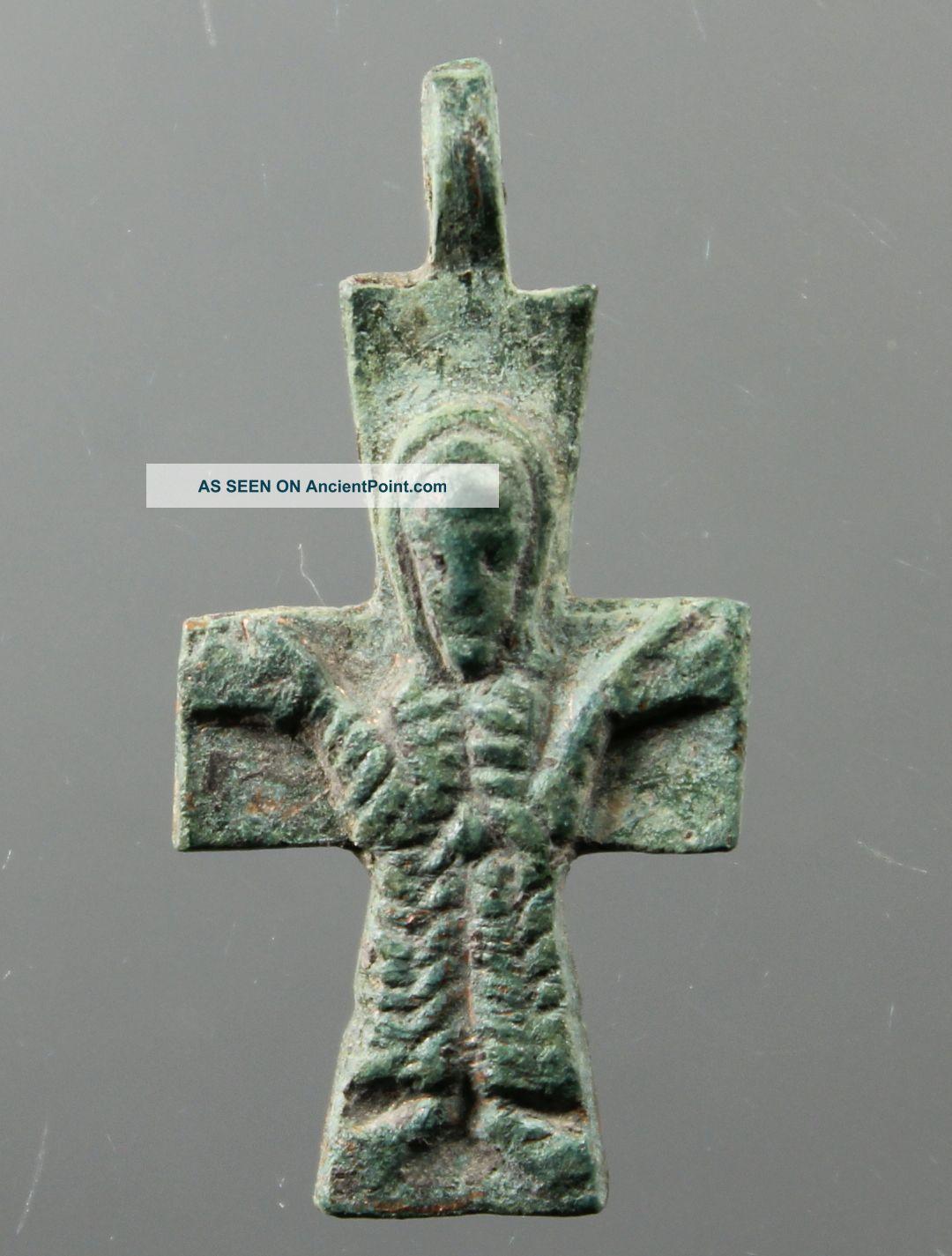 Stunning Cross,  Jesus Christ,  Catholic,  Christian,  Bronze,  7.  - 8.  Century Byzantine photo
