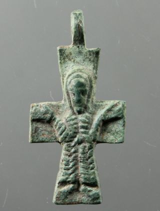 Stunning Cross,  Jesus Christ,  Catholic,  Christian,  Bronze,  7.  - 8.  Century photo
