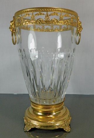Post - 1940 Cut Glass Vase Gold Gilded Ormolu And Metal France photo