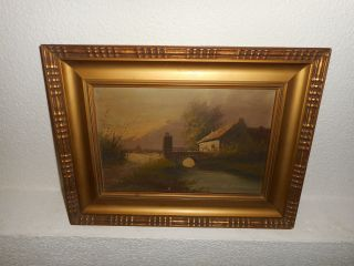 Antique Oil Painting,  { Landscape With A Bridge And Houses,  Is Signed }. photo