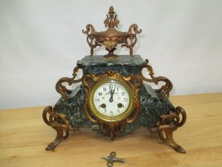 C1890 A.  D.  Mougin French Ormolu Mantle Clock Marble Gilded Ornate Porcelain Dial photo